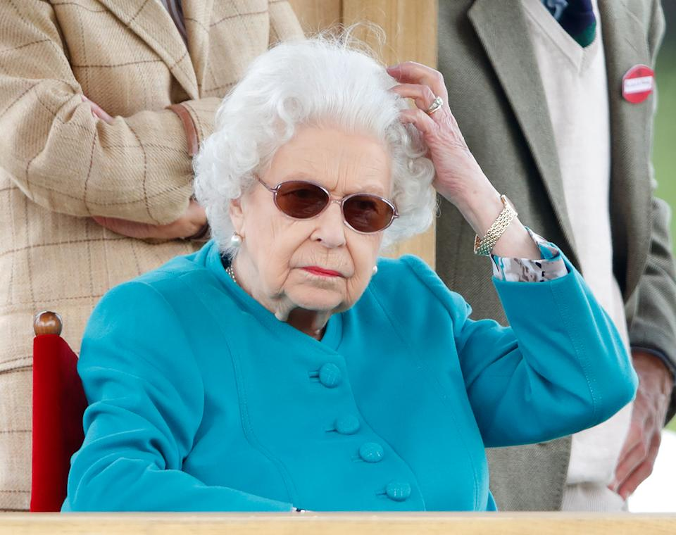 WINDSOR, UNITED KINGDOM - JULY 01: (EMBARGOED FOR PUBLICATION IN UK NEWSPAPERS UNTIL 24 HOURS AFTER CREATE DATE AND TIME) Queen Elizabeth II attends day 1 of the Royal Windsor Horse Show in Home Park, Windsor Castle on July 1, 2021 in Windsor, England. (Photo by Max Mumby/Indigo/Getty Images)