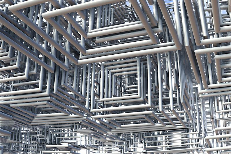 3D view of tubes - Abstract chaos