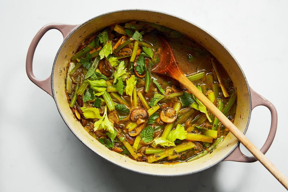 "This vegetarian version of khoresh from cookbook author <a href=""https://www.epicurious.com/recipes-menus/persian-recipes-for-weeknight-cooking-najmieh-batmanglij-article?mbid=synd_yahoo_rss"" rel=""nofollow noopener"" target=""_blank"" data-ylk=""slk:Najmieh Batmanglij"" class=""link rapid-noclick-resp"">Najmieh Batmanglij</a> uses mushrooms instead of red meat. She notes that it's especially good to make with fresh, young celery, ""when the strings aren't too tough."" <a href=""https://www.epicurious.com/recipes/food/views/persian-celery-stew-with-mushrooms-khoresh-e-karafs?mbid=synd_yahoo_rss"" rel=""nofollow noopener"" target=""_blank"" data-ylk=""slk:See recipe."" class=""link rapid-noclick-resp"">See recipe.</a>"