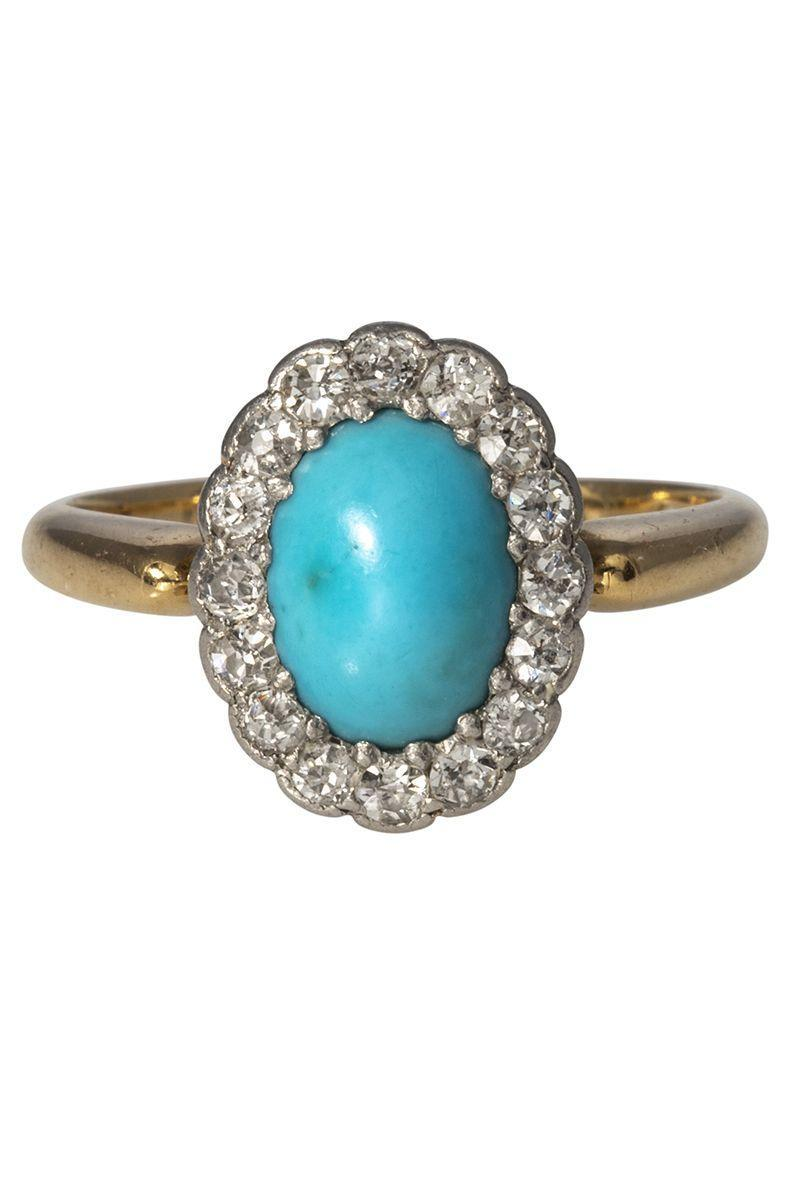 "<p><em><strong>Croghan's Jewel Box</strong> Victorian Oval Turquoise & Diamond Halo 18-Karat Gold Ring, circa the 1900s, $3,165, <a href=""https://www.croghansjewelbox.com/collections/estate-jewelry-rings/products/victorian-oval-turquoise-diamond-halo-18k-gold-ring"" rel=""nofollow noopener"" target=""_blank"" data-ylk=""slk:croghansjewelbox.com"" class=""link rapid-noclick-resp"">croghansjewelbox.com</a></em></p><p><a class=""link rapid-noclick-resp"" href=""https://www.croghansjewelbox.com/collections/estate-jewelry-rings/products/victorian-oval-turquoise-diamond-halo-18k-gold-ring"" rel=""nofollow noopener"" target=""_blank"" data-ylk=""slk:SHOP"">SHOP</a></p>"