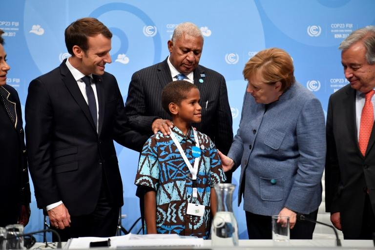 Twelve-year-old Timoci Naulusala from Fiji, a nation disappearing under rising seas, delivered a testimonial to ministers and heads of state