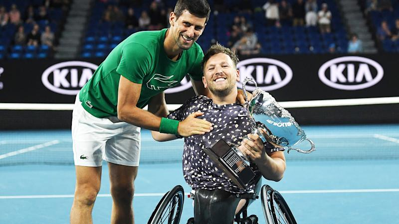 Dylan Alcott, pictured here with Novak Djokovic at the Australian Open in January.