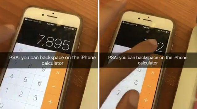 Stockholm student Jazz Johnson revealed a handy backspace function on the iPhone calculator app that sent the world into a spin. Picture: Twitter/censoredialogue