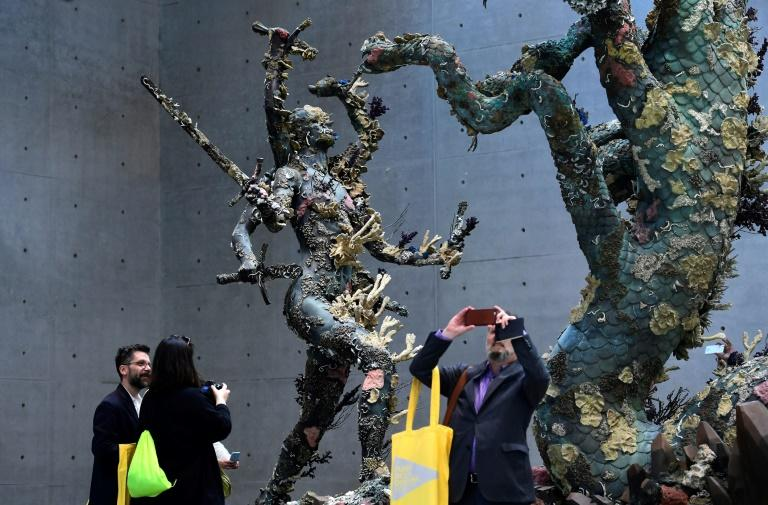"A sculpture titled ""Hydra and Kali"" pictured during the press presentation of the exhibit ""Treasures from the Wreck of the Unbelievable"" by British artist Damien Hirst at the Pinault Collection in Venice on April 6, 2017"