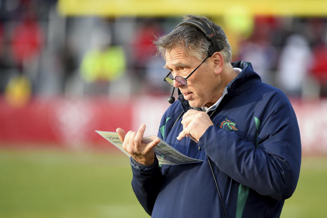 Seattle Dragons head coach Jim Zorn looks on during an XFL football game against the DC Defenders. (AP Photo/Will Newton)
