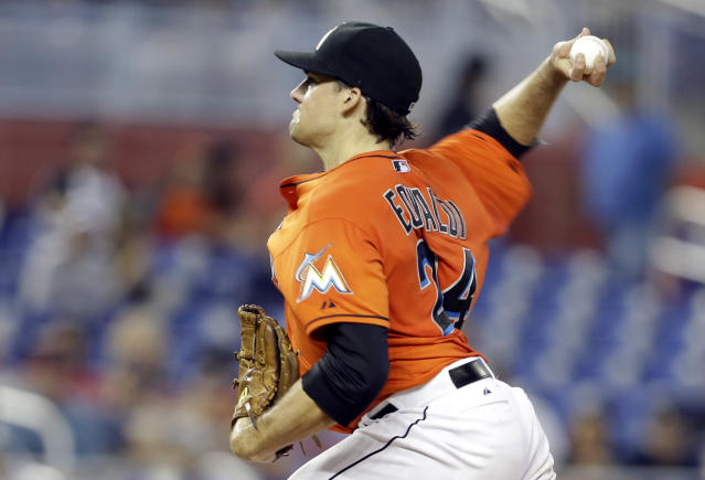 Miami Marlins starting pitcher Nate Eovaldi throws in the first inning during an interleague baseball game against the Cleveland Indians, Sunday, Aug. 4, 2013, in Miami. (AP Photo/Lynne Sladky)