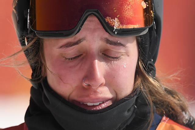 <p>Maddie Bowman reacts after competing in the women's ski halfpipe final during the Pyeongchang 2018 Winter Olympic Games at the Phoenix Park in Pyeongchang on February 19, 2018. / AFP PHOTO / LOIC VENANCE </p>