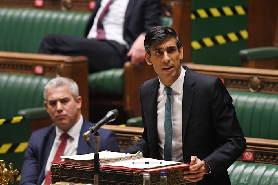 Britain's Chancellor of the Exchequer Rishi Sunak speaks on Spending Review 2020 and the Office for Budget Responsibility's latest economic and fiscal forecast at the House of Commons in London, Britain November 25, 2020. ?UK Parliament/Jessica Taylor/Handout via REUTERS  THIS IMAGE HAS BEEN SUPPLIED BY A THIRD PARTY. MANDATORY CREDIT. IMAGE MUST NOT BE ALTERED
