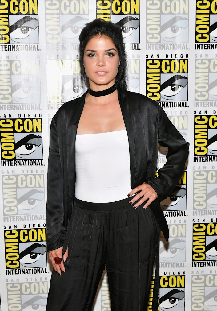 """SAN DIEGO, CA - JULY 21: Actress Marie Avgeropoulos at """"The 100"""" Press Line during Comic-Con International 2017 at Hilton Bayfront on July 21, 2017 in San Diego, California. (Photo by Dia Dipasupil/Getty Images) ORG XMIT: 775007924 ORIG FILE ID: 820416752"""