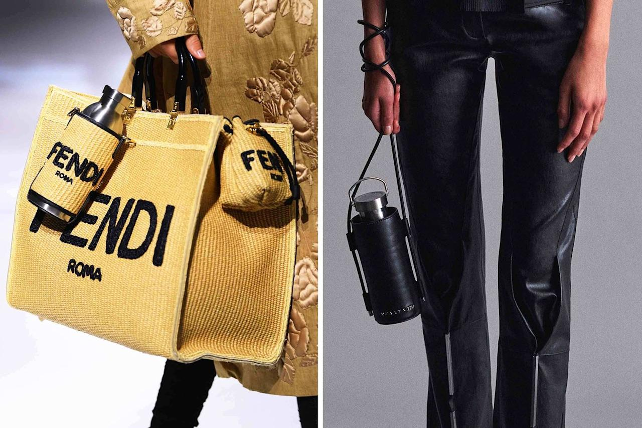 <p>Not sure who needs to hear this, but single-use plastic water bottles are just not it. Instead, invest in a chic, refillable version with a fashionable carrier like these at Fendi (<em>left</em>) and Alyx (<em>right</em>) to make a real statement.</p>