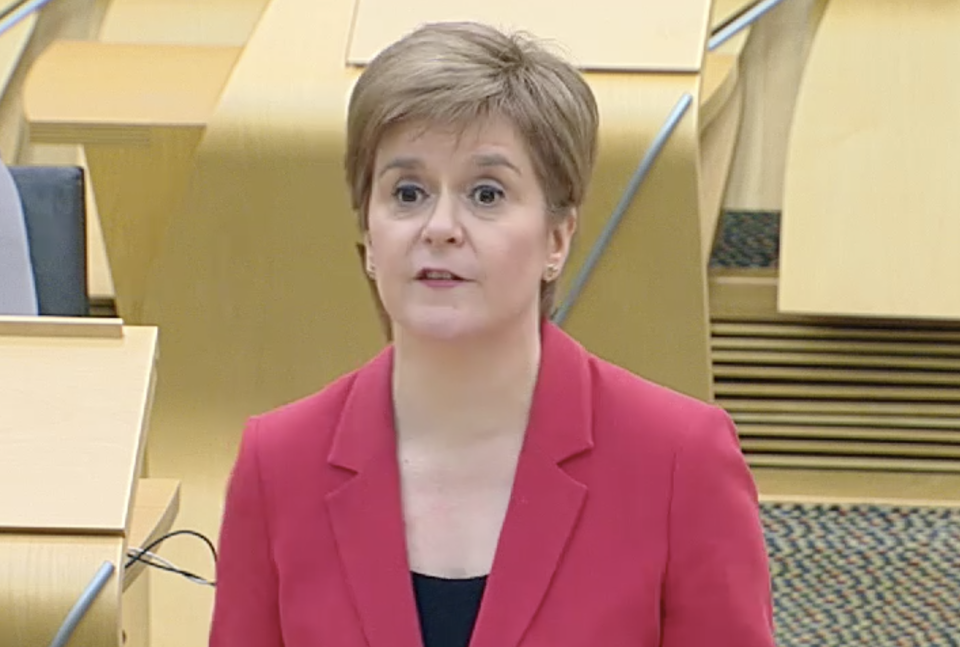 Nicola Sturgeon apologises in the Scottish Parliament on Wednesday. (Scottish Parliament TV)