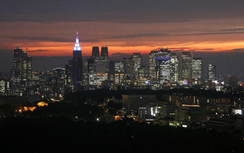 FILE PHOTO: High-rise buildings are seen at the Shinjuku business district during sunset in Tokyo