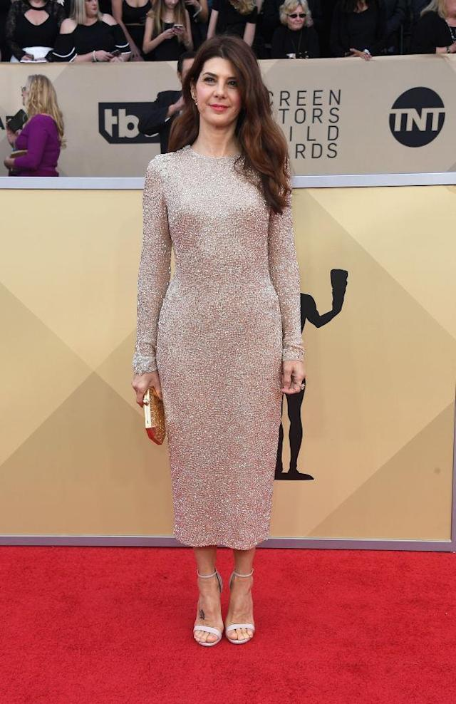 <p>The actress's skin-colored dress featured crystal detailing. (Photo: Getty Images) </p>