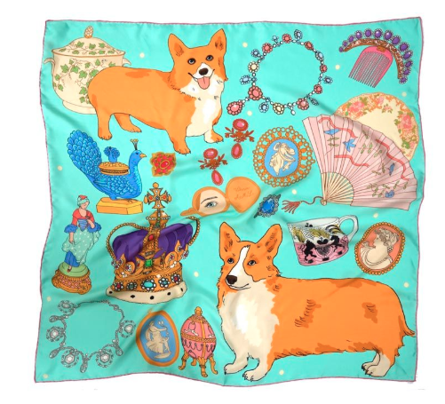 """<p>Don yourself in the Queen's faourite dogs in this <a rel=""""nofollow"""" href=""""https://www.royalcollectionshop.co.uk/gifts/gifts-by-occasion/valentines/karen-mabon-oh-so-royal-turquoise-silk-scarf.html"""">£95</a> corgi scarf. </p>"""