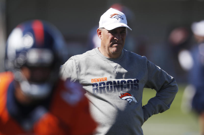 Denver Broncos head coach Vic Fangio looks on during drills at the team's NFL football training camp Friday, July 19, 2019, in Englewood, Colo. (AP Photo/David Zalubowski)