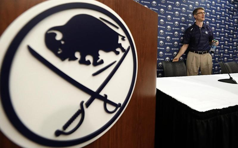 Buffalo Sabres coach Ron Rolston speaks during an NHL hockey news conference in Buffalo, N.Y., Tuesday, May 7, 2013. Rolston becomes the 16th coach in the history of the franchise. (AP Photo/David Duprey)