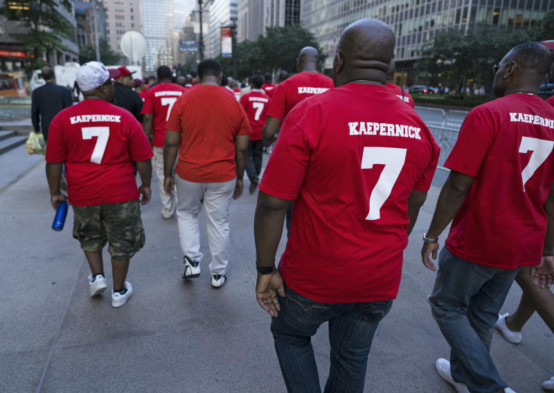 Colin Kaepernick's message is still resonating across the country. (AP)