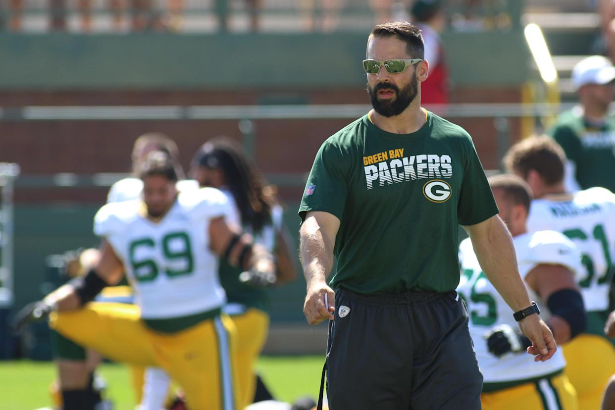 Green Bay Packers strength and conditioning coordinator Chris Gizzi during a training camp practice in 2019. (Photo by Larry Radloff/Icon Sportswire via Getty Images)