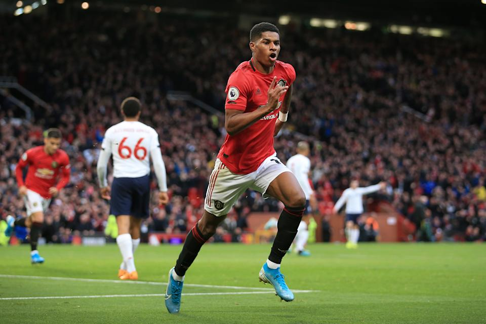 MANCHESTER, ENGLAND - OCTOBER 20: Marcus Rashford of Man Utd celebrates after scoring their 1st goal during the Premier League match between Manchester United and Liverpool FC at Old Trafford on October 20, 2019 in Manchester, United Kingdom. (Photo by Simon Stacpoole/Offside/Offside via Getty Images)