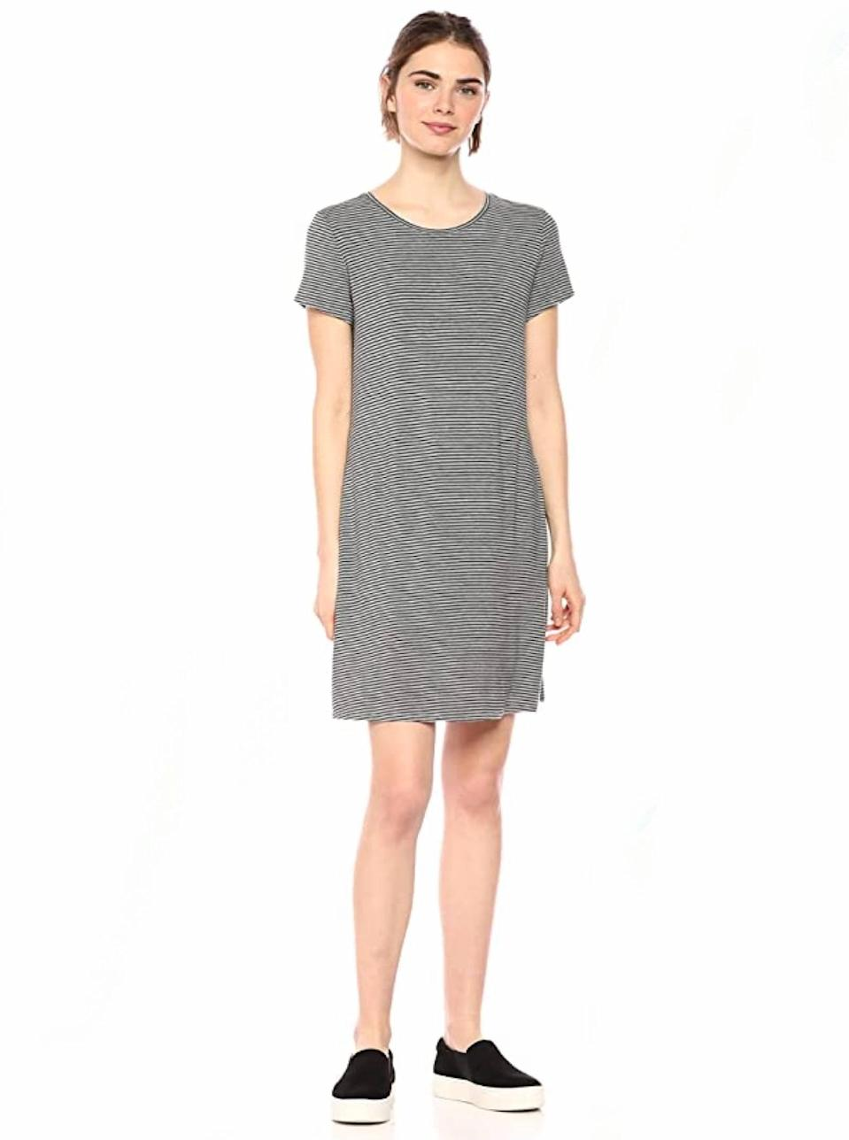 """If you don't have a roomy t-shirt dress that's cute enough for Zoom meetings and cozy enough for cat naps, what're you doing? $21, Amazon. <a href=""""https://www.amazon.com/Amazon-Essentials-Womens-Short-Sleeve-Scoopneck/dp/B07JP44KVG/"""" rel=""""nofollow noopener"""" target=""""_blank"""" data-ylk=""""slk:Get it now!"""" class=""""link rapid-noclick-resp"""">Get it now!</a>"""