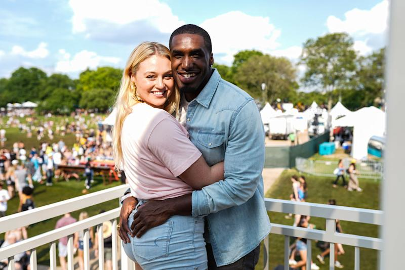 Iskra Lawrence and her boyfriend Philip Payne have become parents, pictured here at the NYC's Governors Ball May 2019. (Getty Images)