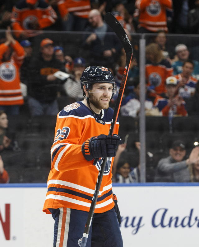 Edmonton Oilers' Leon Draisaitl (29) celebrates a goal against the San Jose Sharks during the second period of an NHL hockey game Thursday, April 4, 2019, in Edmonton, Alberta. (Jason Franson/The Canadian Press via AP)
