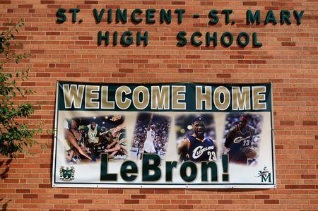 Aug 8, 2014; Akron, OH, USA; Welcome home LeBron James signage outside of St. Vincent St. Mary High School prior to the LeBron James Family Foundation Reunion and Rally at InfoCision Stadium. Mandatory Credit: Andrew Weber-USA TODAY Sports