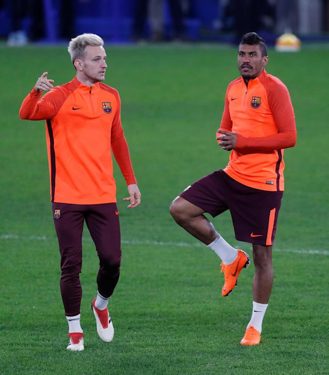 Soccer Football - Champions League - FC Barcelona Training - Stamford Bridge, London, Britain - February 19, 2018 Barcelona's Paulinho and Ivan Rakitic during training Action Images via Reuters/Matthew Childs