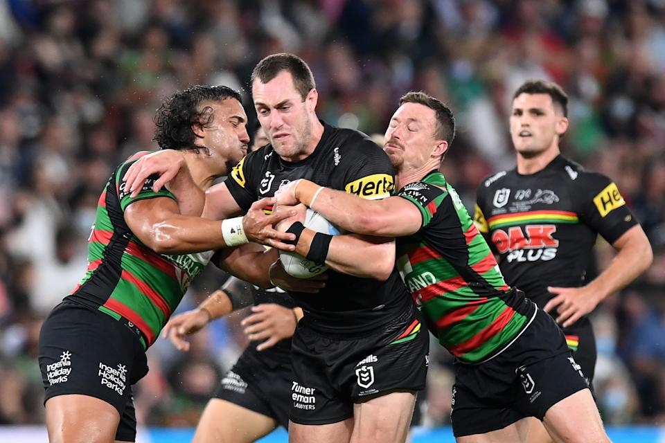 Isaah Yeo (pictured) is tackled during the 2021 NRL Grand Final match between the Penrith Panthers and the South Sydney Rabbitohs at Suncorp Stadium on October 03, 2021, in Brisbane, Australia.