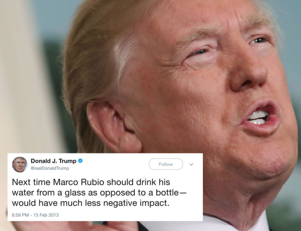 """<p>In 2013, Trump criticised Republican politician Marco Rubio (his one-time GOP rival) for drinking from a bottle during a speech. 'When they put Marco on to refute President Obama's speech, do you remember that catastrophe?' Trump then asked a campaign crowd in Fort Worth, Texas, in February 2016. He mocked Rubio, saying, 'He's like this: '"""" need water. Help me, I need water,""""' Trump said, pretending to stagger on stage.<br>Recently, during his Asia tour, Trump stopped twice to take a drink from a bottle during his speech. (Getty) </p>"""