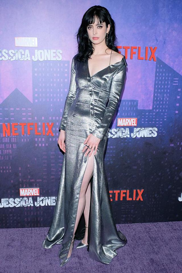 <p>The <em>Jessica Jones</em> star sizzled in a silver dress with a thigh-high slit at the season 2 premiere of the Marvel series on a snowy Wednesday night in New York City. (Photo: Matthew Eisman/Getty Images) </p>