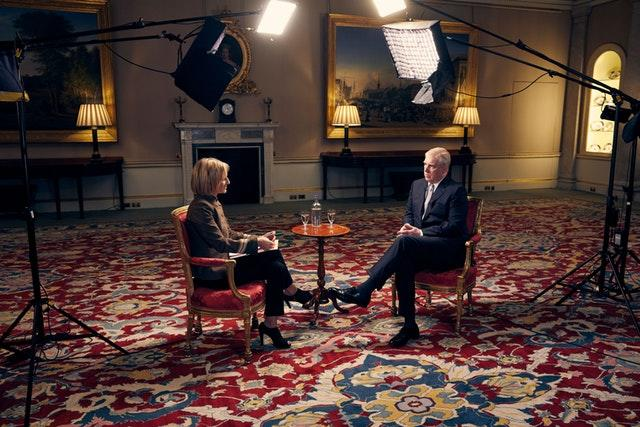 The Duke of York in an interview with BBC Newsnight's Emily Maitlis