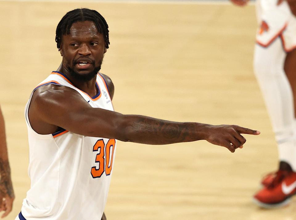 Julius Randle #30 of the New York Knicks directs his teammates in the second quarter against the Charlotte Hornets at Madison Square Garden on May 15, 2021 in New York City.NOTE TO USER: User expressly acknowledges and agrees that, by downloading and or using this photograph, User is consenting to the terms and conditions of the Getty Images License Agreement. (Photo by Elsa/Getty Images)