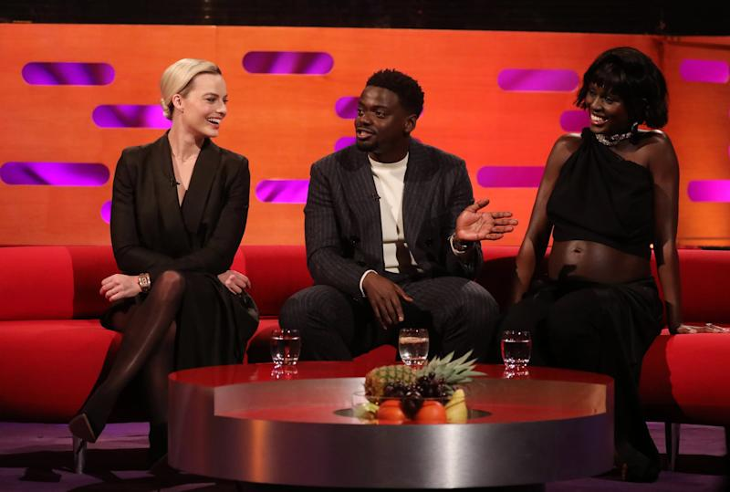 (left to right) Margot Robbie, Daniel Kaluuya and Jodie Turner-Smith during the filming for the Graham Norton Show at BBC Studioworks 6 Television Centre, Wood Lane, London, to be aired on BBC One on Friday evening. (Photo by Isabel Infantes/PA Images via Getty Images)