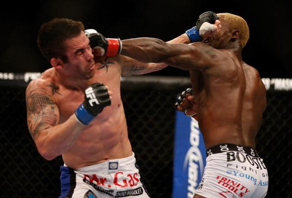 (R-L) Melvin Guillard versus Jamie Varner during their lightweight fight at UFC 155 on December 29, 2012 at MGM Grand Garden Arena in Las Vegas, Nevada. (Photo by Donald Miralle/Zuffa LLC/Zuffa LLC via Getty Images)