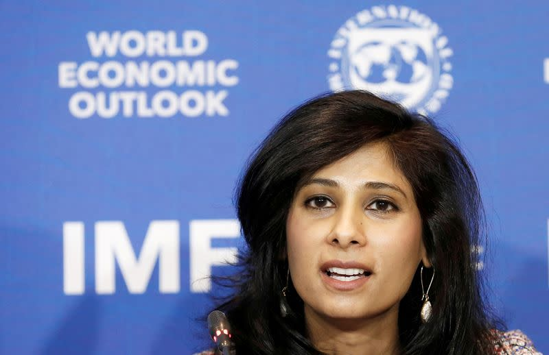 FILE PHOTO: Gita Gopinath, Economic Counsellor and Director of the Research Department at the International Monetary Fund (IMF), speaks during a news conference in Santiago