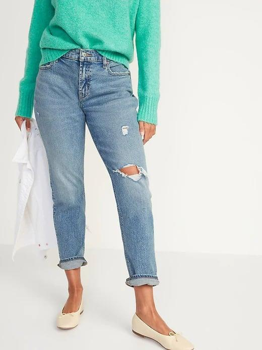 <p>Cuffing these <span>Old Navy Mid-Rise Boyfriend Straight Ripped Jeans</span> ($45) over dressy flats equals one casually cool outfit.</p>