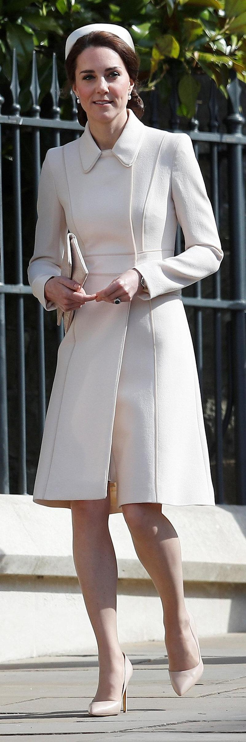 Easter: The Duchess was dressed in a cream coat and hat (PA)