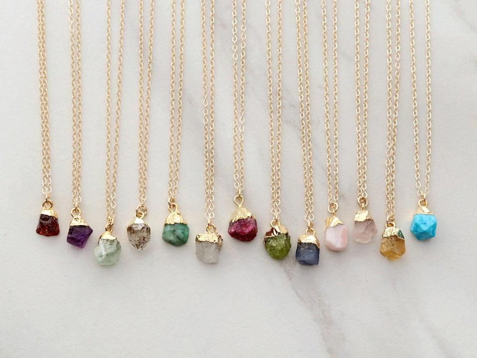 <p>Make a statement with the timeless <span>Raw Birthstone Necklace</span> ($34). It's a bold and bright piece that they'll appreciate. </p>