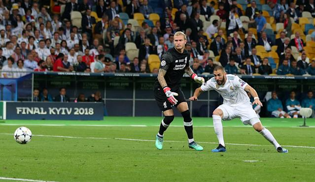 Soccer Football - Champions League Final - Real Madrid v Liverpool - NSC Olympic Stadium, Kiev, Ukraine - May 26, 2018 Real Madrid's Karim Benzema scores their first goal REUTERS/Hannah McKay