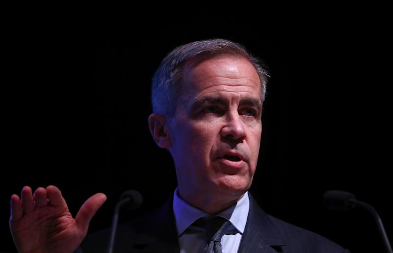 The Governor of the Bank of England, Mark Carney speaks at an FT event in London, Britain February 12, 2019. REUTERS/Hannah McKay