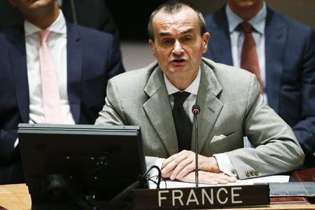 Gerard Araud addresses the Security Council during a meeting about the situation in the Middle East, including Palestine, at United Nations headquarters in New York, July 22, 2014. REUTERS/Eduardo Munoz