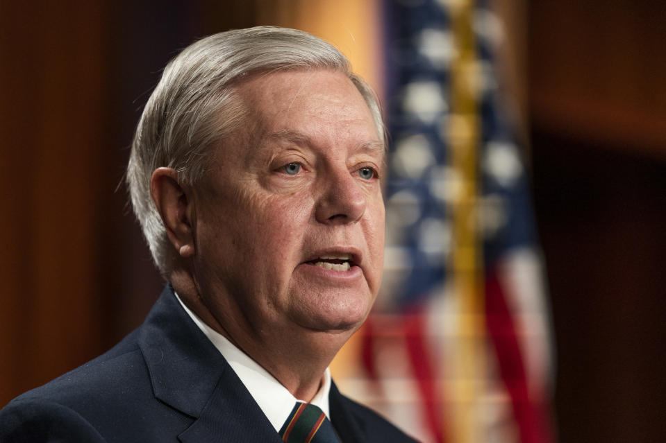 Sen. Lindsey Graham, R-S.C., speaks to reporters during a news conference at the Capitol, Thursday, Jan. 7, 2021, in Washington. Graham said Thursday that the president must accept his own role in the violence that occurred at the U.S. Capitol. (AP Photo/Manuel Balce Ceneta)