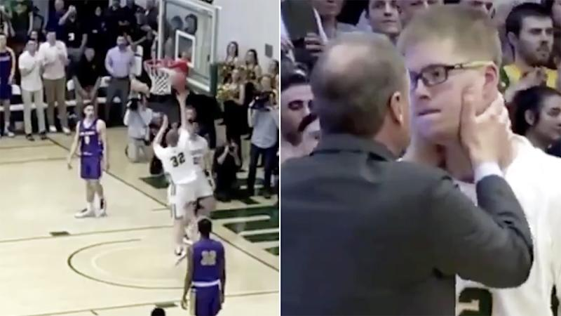 NCAA basketballer Josh Speidel scored the first basket of his college career for Vermont, five years after a car crash left him in a coma with an acquired brain injury. Pictures: NCAA/America East