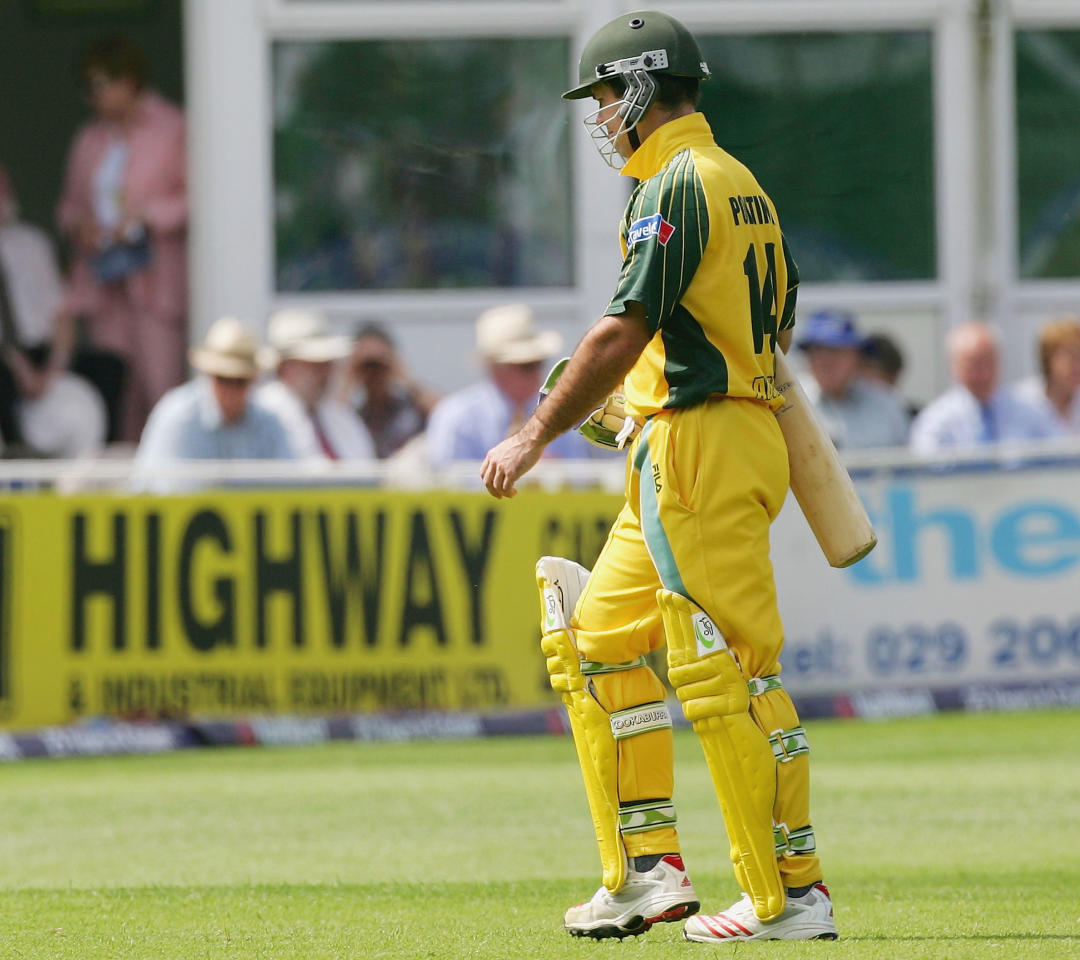 Ricky Ponting of Australia leaves the field after being dismissed for one during the NatWest Series One Day International between Australia and Bangladesh played at Sophia Gardens on June 18, 2005 in Cardiff, United Kingdom  (Photo by Hamish Blair/Getty Images)