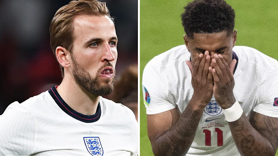 England captain Harry Kane has denounced the racist abuse levelled at teammates Marcus Rashford, Jadon Sancho and Bukayo Saka in the wake of the team's loss to Italy in the Euro 2020 final. Pictures: Getty Images