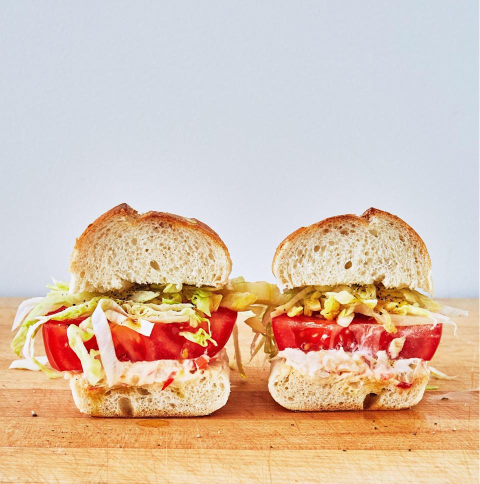 """Tuck the picnic blanket into your shirt like a bib when you're eating this tomato sandwich. Picnic food doesn't get better than this when tomatoes are in season. <a href=""""https://www.epicurious.com/recipes/food/views/veggie-italian-hoagies?mbid=synd_yahoo_rss"""" rel=""""nofollow noopener"""" target=""""_blank"""" data-ylk=""""slk:See recipe."""" class=""""link rapid-noclick-resp"""">See recipe.</a>"""