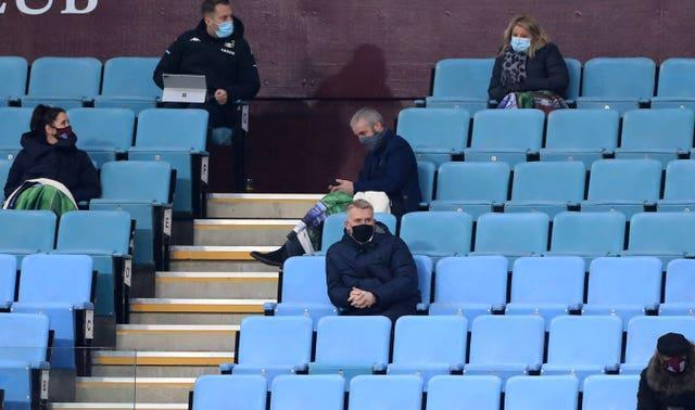 Aston Villa manager Dean Smith was watching from the stands