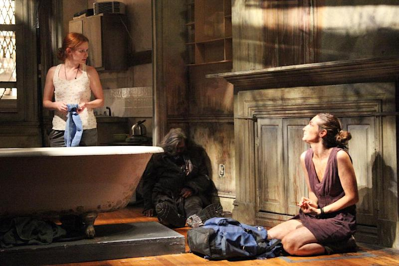 "This photo released by Richard Kornberg & Associates show, from left, Hani Furstenberg, Brian Mendes and Danielle Slavick in a scene from Adam Rapp's ""Through the Yellow Hour"" currently performing off-Broadway at Rattlestick Playwrights Theater in New York.  (AP Photo/Richard Kornberg & Associates, Sandra Coudert)"