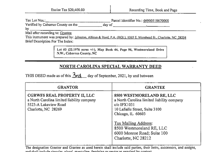 This screen shot shows the first page of the land transfer document filed with the Cabarrus County Tax Assessor's Office in the sale of Chip Ganassi Racing's 22-acre headquarters to a limited liability company affiliated with Charlotte-based Hendrick Automotive Group.